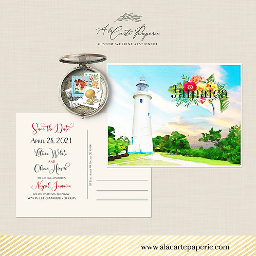 Jamaica  Watercolor illustrated Destination wedding Save the date postcard