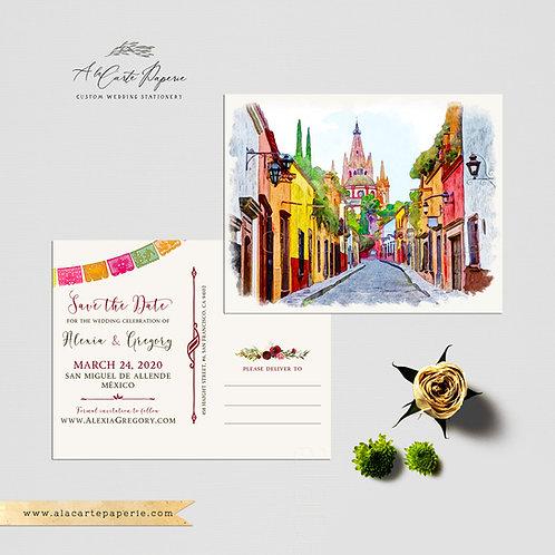 Mexico San Miguel de Allende save the date postcard Mexican Destination wedding