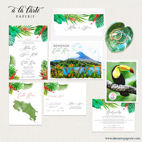 Costa Rica Destination Wedding Wedding Invitation Set Tropical South America
