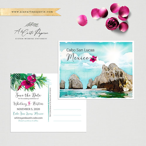 Destination wedding save the date Mexico Cabo San Lucas Los Cabos beach wedding