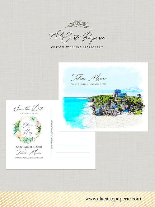 Destination wedding Tulum Mexico Save the Date Postcard Riviera Maya