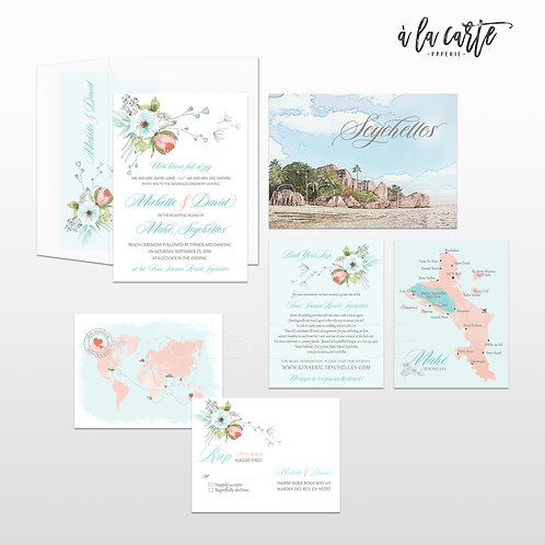 Seychelles Island Indian Ocean illustrated beach wedding invitation Watercolor