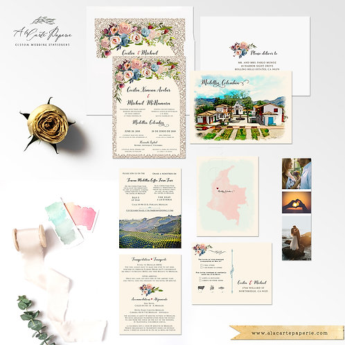 Destination wedding invitation South America Medellin Colombia Bilingual Spanish