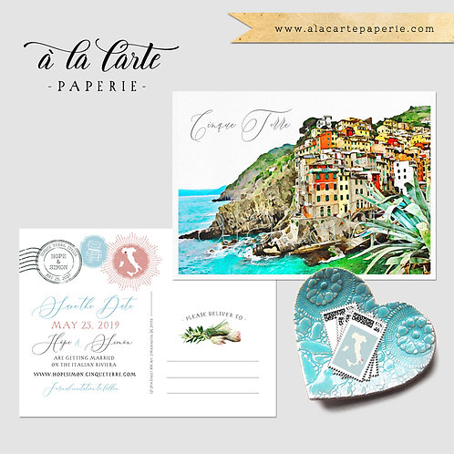 Cinque Terre Italy Riviera illustrated wedding Save the Date postcard