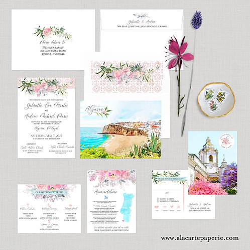 Portugal Algarve Watercolor Illustrated Destination Wedding Invitation Set