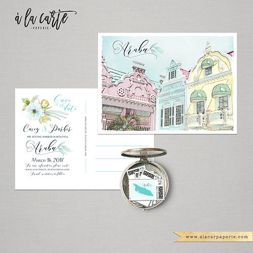 Aruba Oranjestad Caribbean Island Illustrated Destination Wedding Save