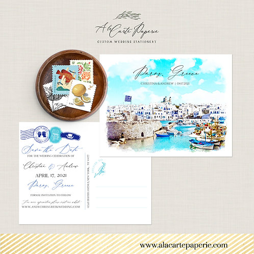 Paros Greece Greek Island Destination wedding invitation Save the Date postcard