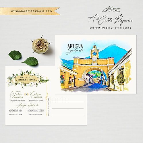 Destination Wedding Save the Date Guatemala Antigua Invitation Watercolor