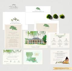Destrehan Plantation LA Wedding Invitation Set