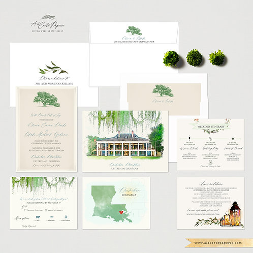Destrehan Plantation LA Destination wedding invitation set Spanish Moss Oak Tree