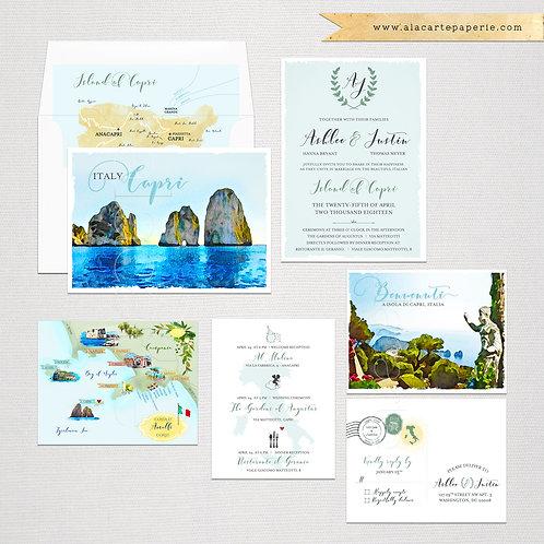 Capri Island Italy Amalfi Coast Destination wedding invitation set blue greens