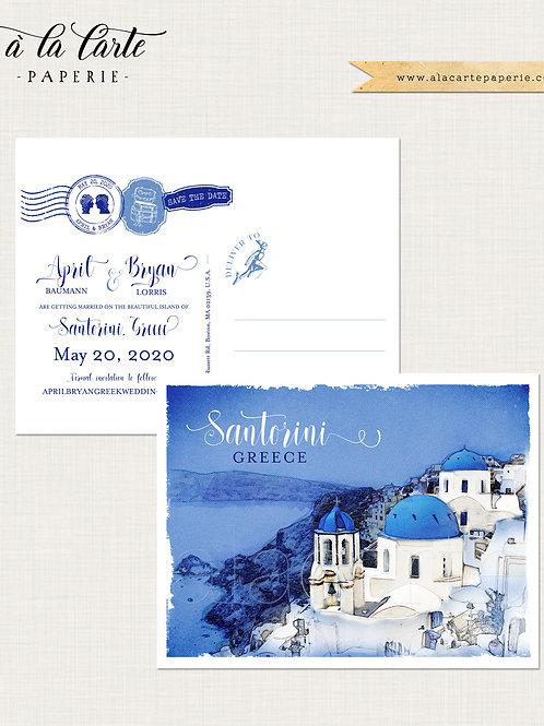 Santorini Greece Greek Island Illustrated Destination Wedding Save the date