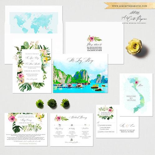 Vietnam Hanoi Ha Long Bay Destination wedding invitation Asia Tropical beach