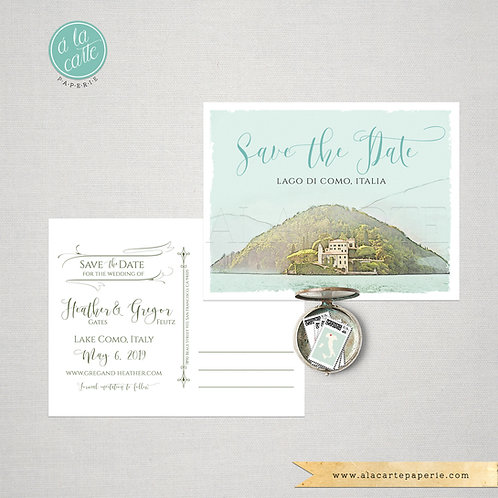 Lake Como Italy Save the Date Watercolor Illustrated postcard
