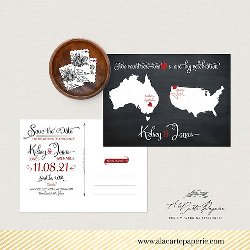 Destination wedding Save the date postcard black chalkboard Two Countries