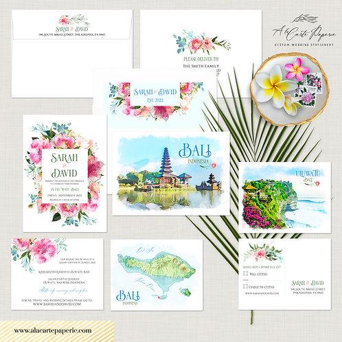 Bali Indonesia Asia Watercolor Illustrated Destination Wedding Invitation Set