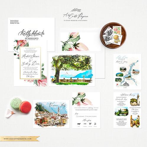 Lake Como Italy Varenna Watercolor Illustrated Destination Wedding Invitations