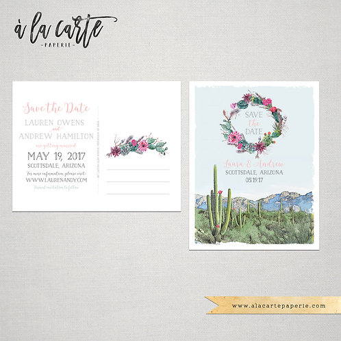 Arizona Scottsdale Phoenix Desert illustrated Destination Wedding Save the date