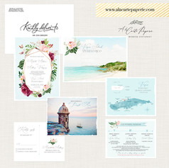 Puerto Rico San Juan Vieques Wedding Invitation Set with watercolor illustrations