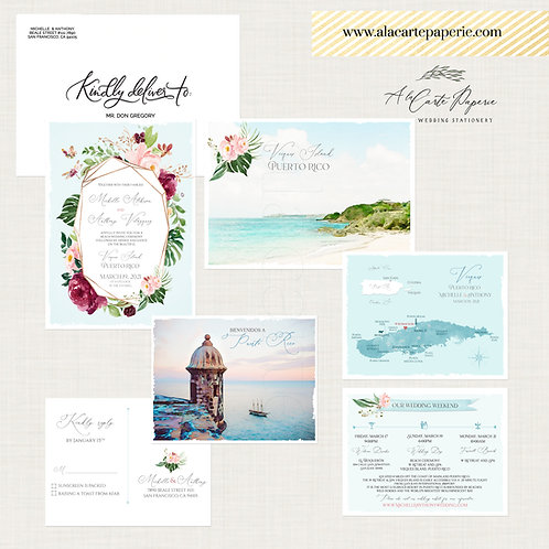 Puerto Rico Vieques Island Beach Illustrated Destination wedding invitation set