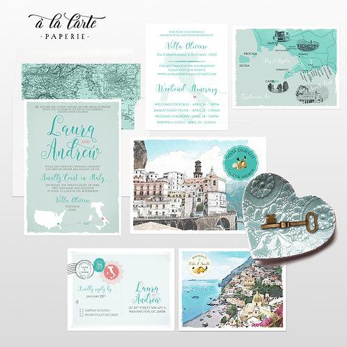Amalfi Coast Italy Wedding Invitation Set Positano Destination Wedding