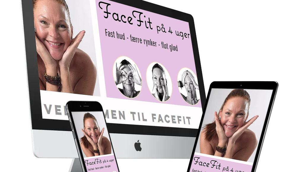 Opstrammende og rynkereducerende træningsprogram til ansigt og hals. 50% RABAT.