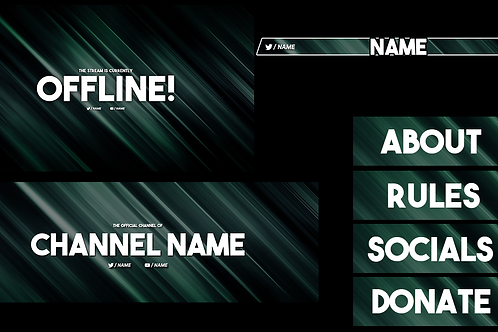 Mint Lines Premade Twitch Pack