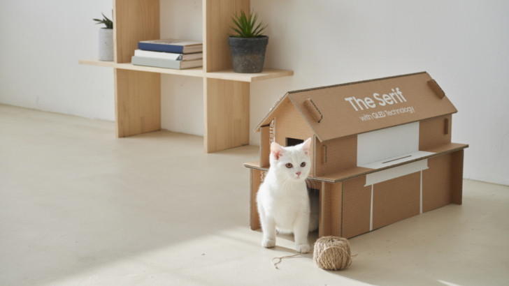 Samsung TV boxes an be reused as magizine racks of cat houses