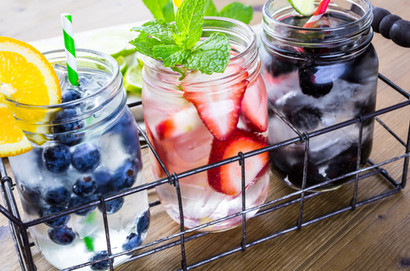 Infused water with fresh organic berries