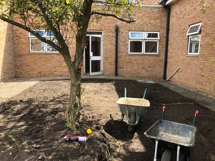 July 2019 The scrubby old turf is gone! Next stop, marking out the curvaceous paths and beds.