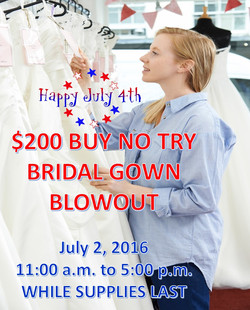 $200 Buy No Try Bridal Sale