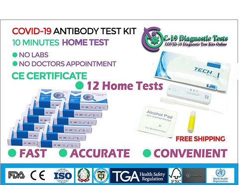 "12 HOME SELF TESTS COVID-19 ""PLATINUM++"" Coronavirus IgG IgM Antibody Tests"