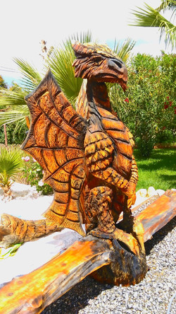 Hand Carved Wooden Dragon & Bench