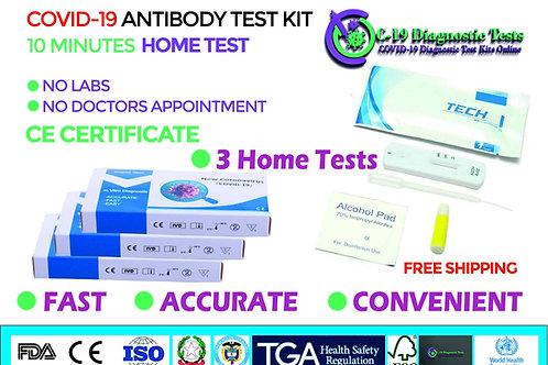 3x COVID-19 Home Use Antibody Self Tests IgG IgM