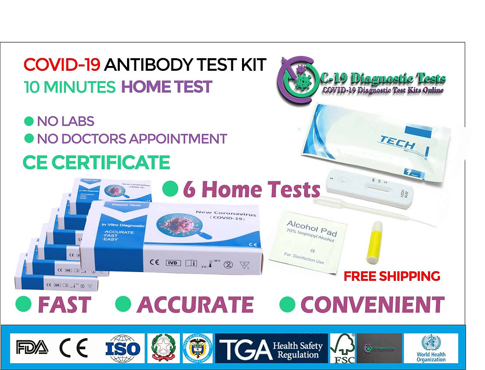 6 Covid 19 Home Tests, covid 19 test kits, cornavirus test kit for sale, covid 19 test kit for sale