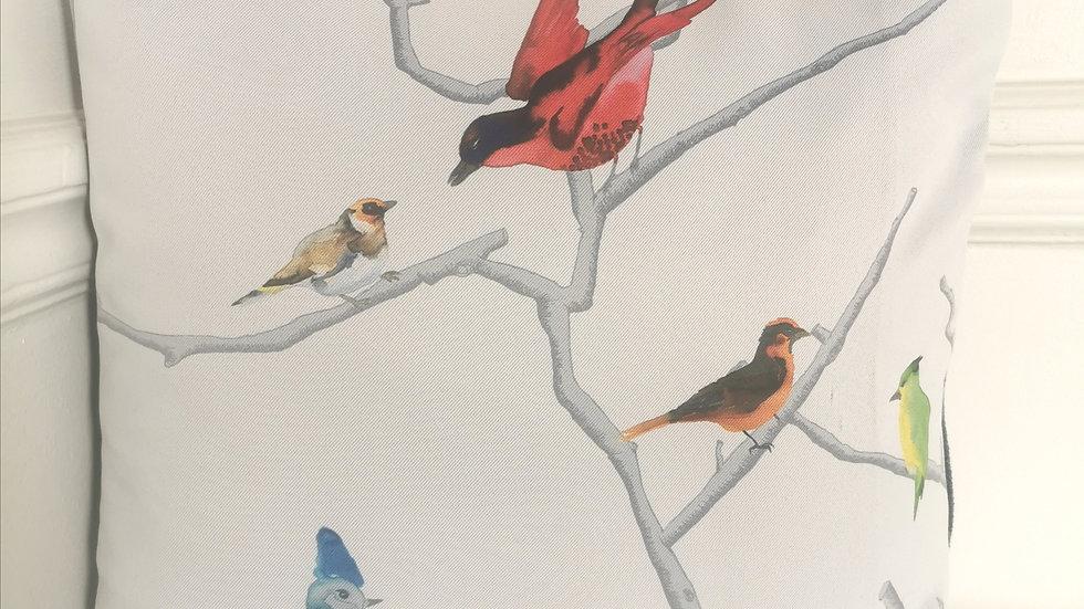 Les oiseaux du Printemps 40X40- Coussin Fait Main