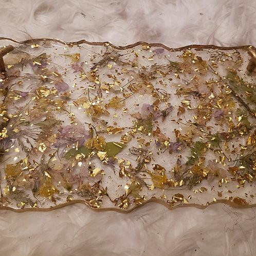 Gold Flake Flower Resin Tray