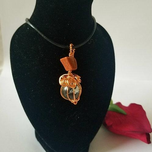 Wirewrap Copper Pendant & Earrings