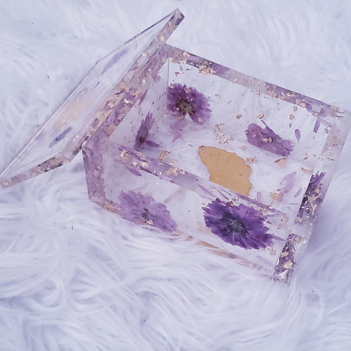 Purple Flower Ginkgo Resin Box
