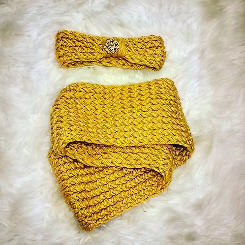 Golden Yellow Headband with Gold & Brown Brooch