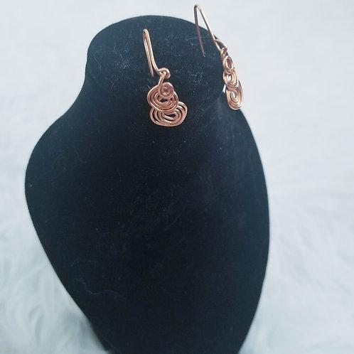 Wire Wrap Copper Spiral Earrings