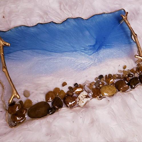 Beach Resin  Pebble Tray