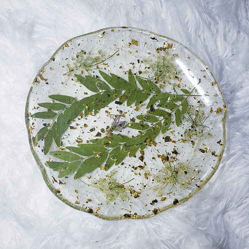 Queen Anne's Lace Leaf Resin Plate