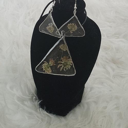 Triangle Silver Earrings & Pendant