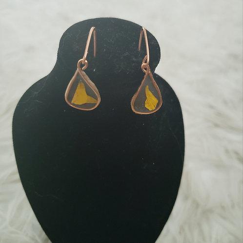 Teardrop Resin Flower Earrings