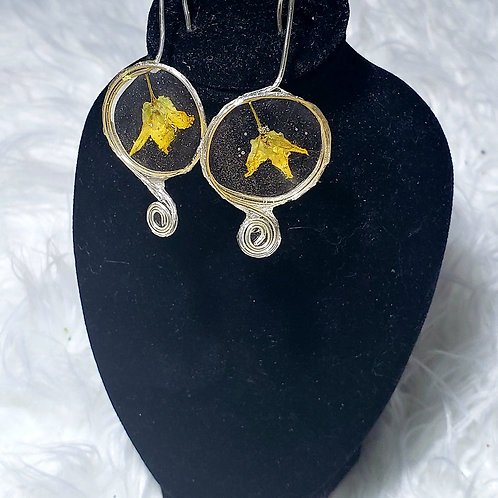 Yellow Flower Spiral Earrings