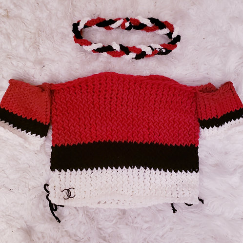 Hand Knit Red Black Crop Top & Braided Headband Set