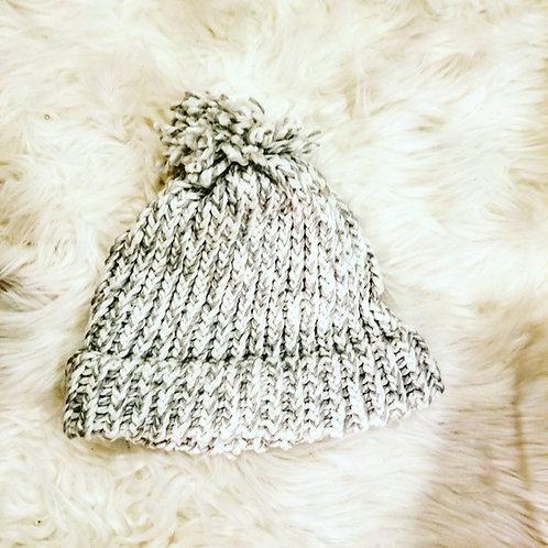 Grey Knit Winter Beanie Hat