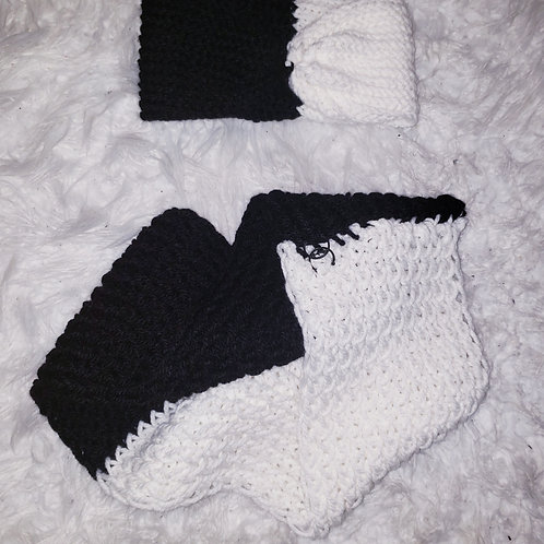 Black and White Ear Warmer Headband & Circle Scarf Set