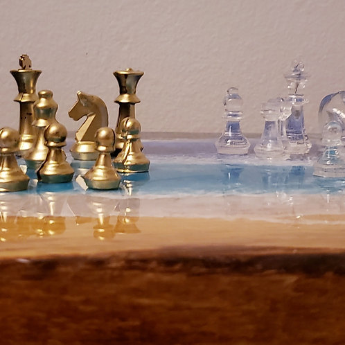 Gold & Clear Chess Pieces